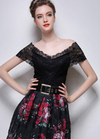 Blouses Tops fashion women girl clothes Off The Shoulder Lace Insert Slim Black Top