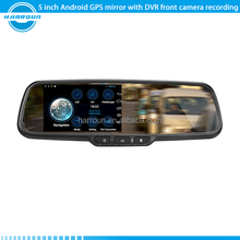 5 inch large screen android gps navigation rear view mirror with touch screen,bluetooth FM 1080P DVR ,reverse camera display
