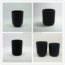 round bottom matte black glass candle holder,frosted white glass candle jar with wooden lid,wholesale glass candle container