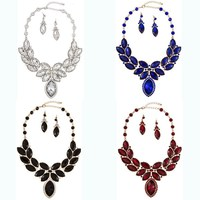 Fashion Exotic Costume Faceted Framed Teardrop Bib Necklace Set Jewelry