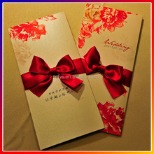 Best selling custom traditional wedding invitation cards with red ribbon