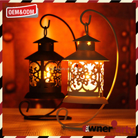 Home Decoration White/Black Iron Candle Lantern