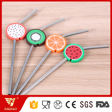 Cute Fruit Design 304 Stainless Steel Straws for Bar/Party