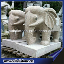 Outdoor Yellow Garden Stone Granite Elephant Carving Statues