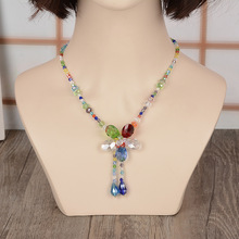 Different types of necklace chains ,glass flower beads necklace YiWu