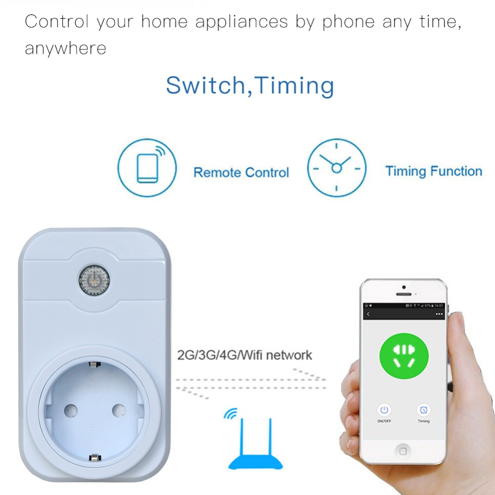 Intelligent electric smart outlet wifi plug for phone control works with alexa