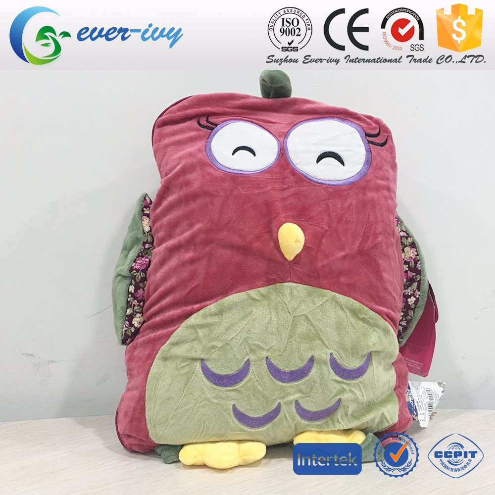 China Supplier 100% Polyester 2 In 1 Flannel Blanket That Folds Into Pillow,Animal Shaped Baby ...