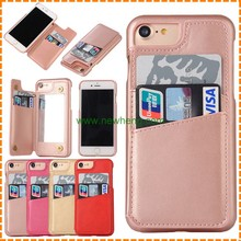 case for apple iphone7, NEW Lady Makeup Mirror Leather Case Hard Back Card Slot Cover for iPhone 7, 7plus