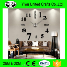 Large Modern Wall Clock DIY 3D Mirror Surface Sticker Home Decor Art Design