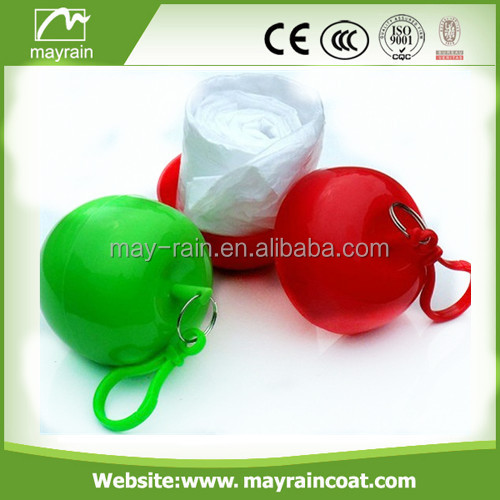 Plastic Poncho ball/PE disposable rain poncho in ball with keychain