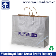 SIZE16x 6x12 inch Silver metallic kraft tinted paper shopping bag