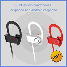 New Design Wireless headphone U8 sport sweatproof bluetooth headset for iphone and android mobilephone cellphone