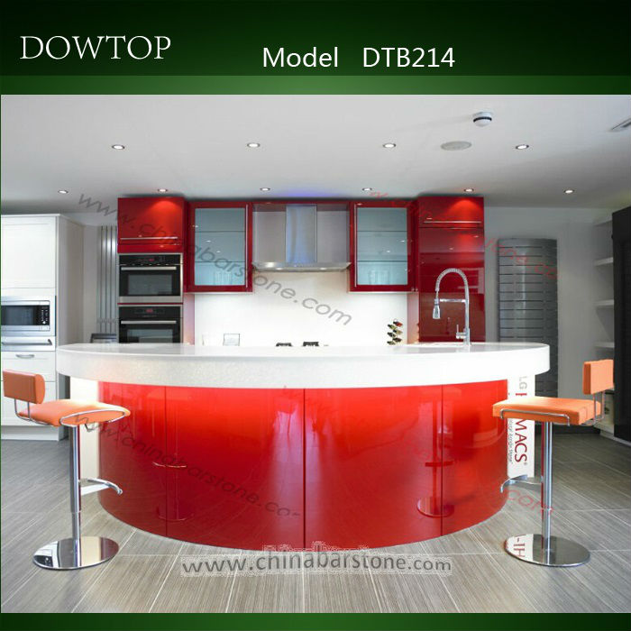 Dtb214 Custom Made Red Lacquer Wood Home Bar Counter Curved Table Design