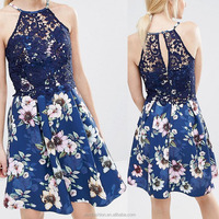 China supplier new arrival women wear sleeveless lace top printed floral elegant ladies formal one-piece dresses