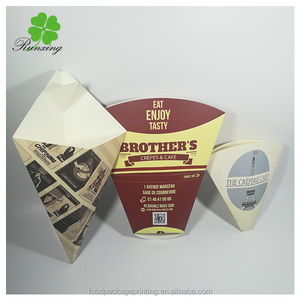 Kraft Paper Disposable Chips Box/Cone Shaped Potato Chips Box/Fast Food Packaging Box