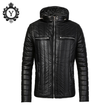 COUTUDI Warm Winter Coat Men Black Down PU Leather Jackets and Coats Cotton-Padded Waterproof PU Stylish Mens Winter Coats