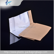 Custom Printed Foil Lined Stand up Kraft Paper Bag with Clear Window / Kraft Paper Food Ziplock Bags for Coffee Bean/Rice