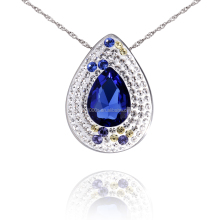 Sterling Silver royal blue sapphire color crystal pendant, costume accessories