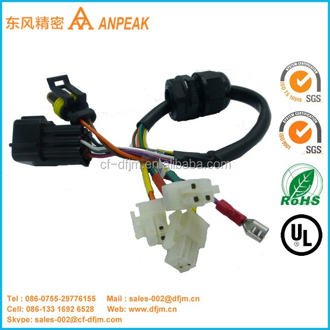 OEM/ODM Customized Available molex connector 3 pin wire harness