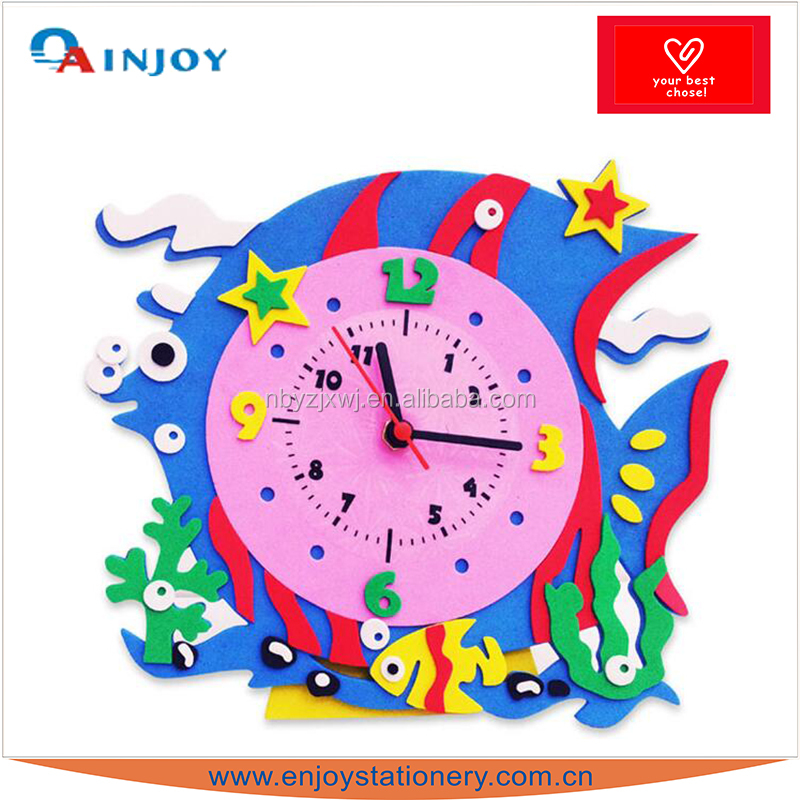 Children's cartoon stickers DIY EVA clock early childhood parenting educational toys Handmade sticky toy