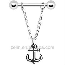 Black White Anchor Chain Dangle Nipple Ring body piercing jewelry