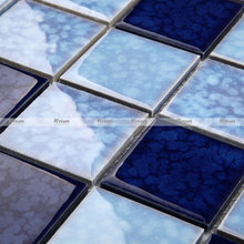 Blue glazed mosaic Mediterranean style bathroom kitchen swimming ceramic pool tile