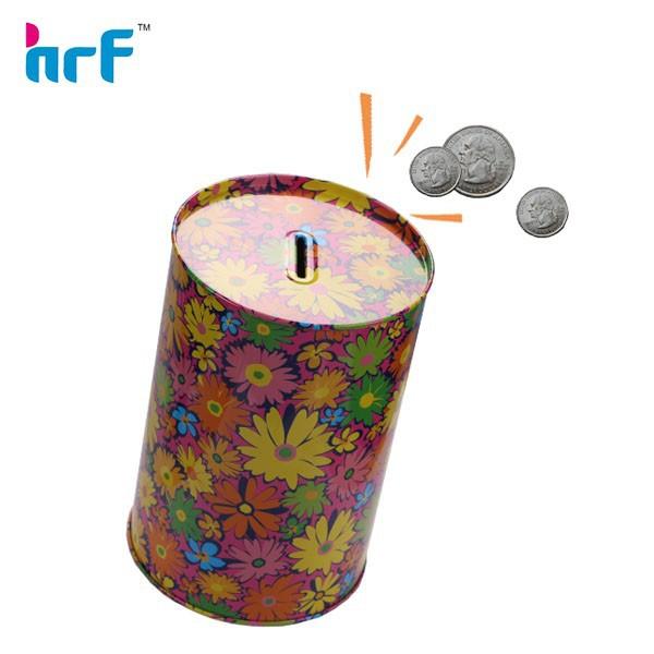 Printed tin can for coin bank buy piggy bank money box for How to open a tin piggy bank