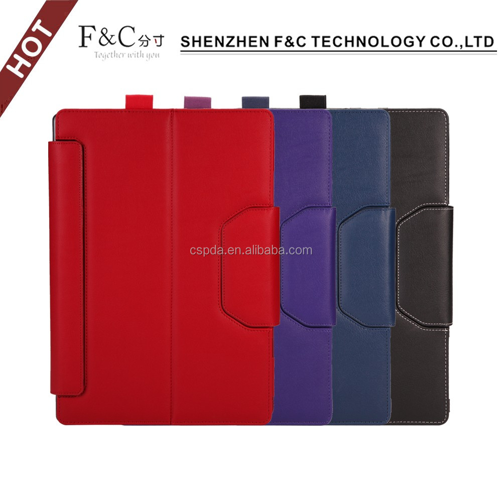 Hot selling flip wallet tablet leather case for surface pro 4 in shenzhen