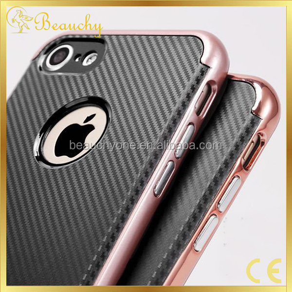 Factory supply soft TPU+PC carbon fibre case shockproof carbon fiber phone case for iphone