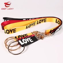 Cheap camouflage polyester printed connect buckle branded personalized lanyard neck strap key chain for wholesale