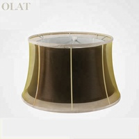 European Customized Black Silk Palace Lampshade With Lining White