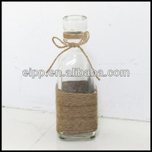 Mini Clear Short-Stemmed Glass Bottle Vase With Rope Decoration