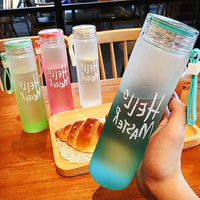 colorful letter glass water bottle with cloth cover frosted portable bottle glass