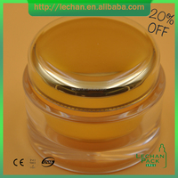 empty double wall plastic cosmetic cream jar with lid, gold acrylic