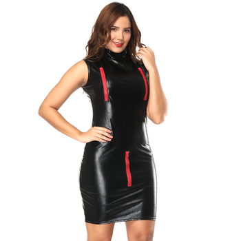 sexy fashion leather clothes woman dress party new style leather  women dresses party wear