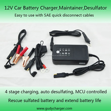 12V motorcycle battery charger, maintainer, desulphator