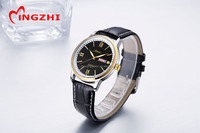 Fashion gold case genuine leather band custom mens watch