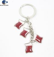 Wholesales Cheap Factory China Supplier Sell Zinc Alloy Qatar National Flag Key Chain