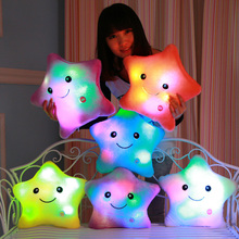 5 Colors Colorful Body Pillow Star Shape Glow Light Pillow Cushion Soft Relax Gift Smile Body LED Pillow With Battery