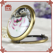 Wholesale Custom Gift Vintage Hand Held Compact Makeup Mirror TCJ107