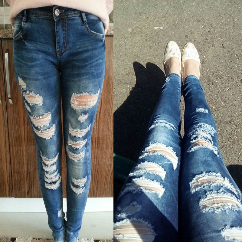 China Manufacturer New Fashion Blue Rags Bermuda Ripped Jeans For City Girl