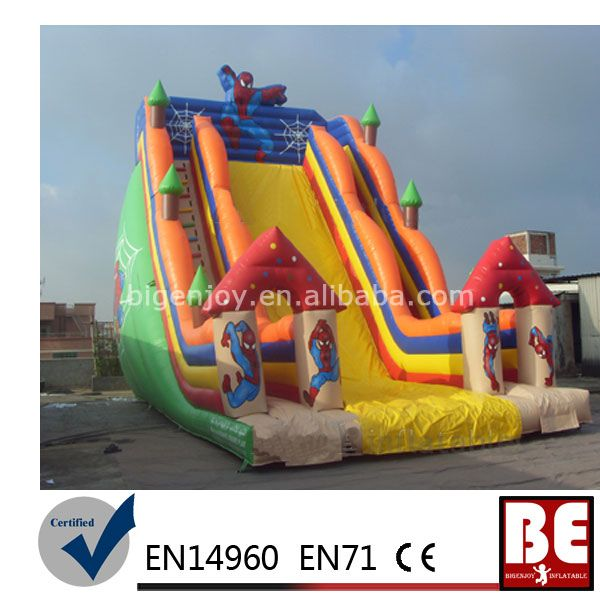 Inflatable Wet Dry Bouncers Spiderman Inflatable Slide