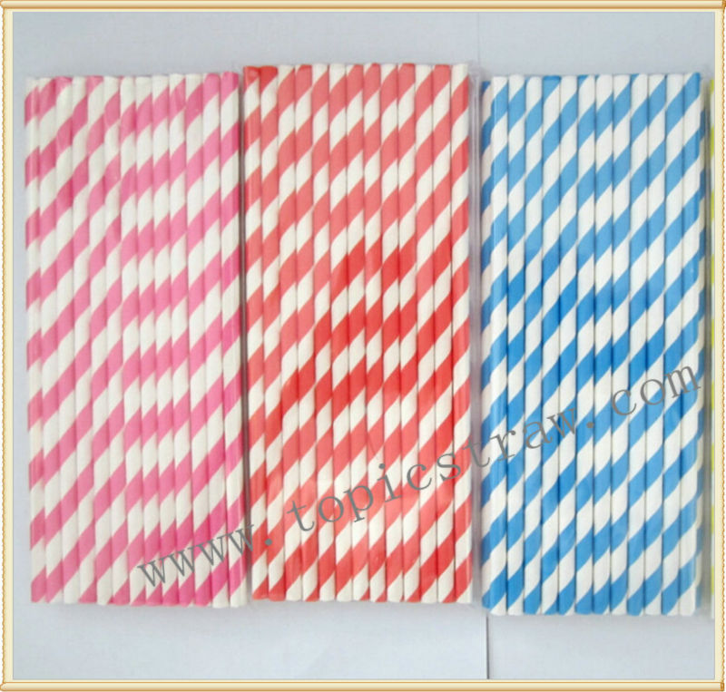 striped paper drinking straw