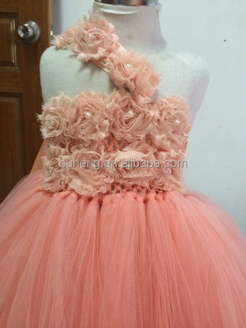 Peach Girls Party Tutu Dress For Wedding
