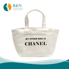 Reusable and Fashionable Custom Black logo printed gift cotton canvas bag Made in China For Girls with low price