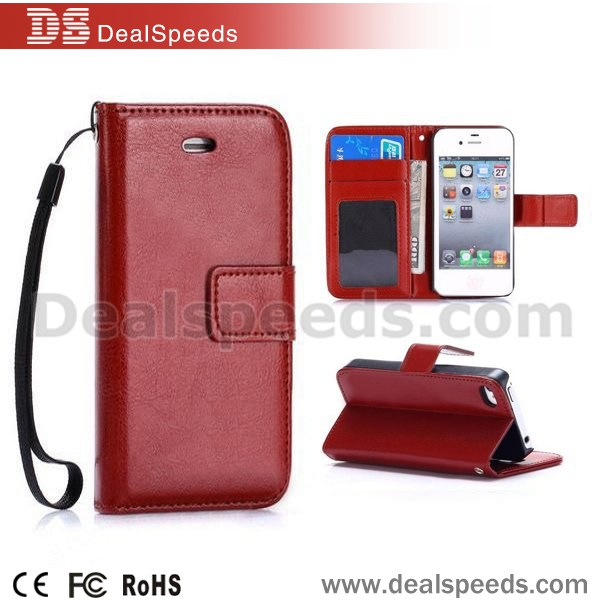 For iPhone 5/5s Slim PC+PU Leather Wallet Style Case Cover for iphone card case