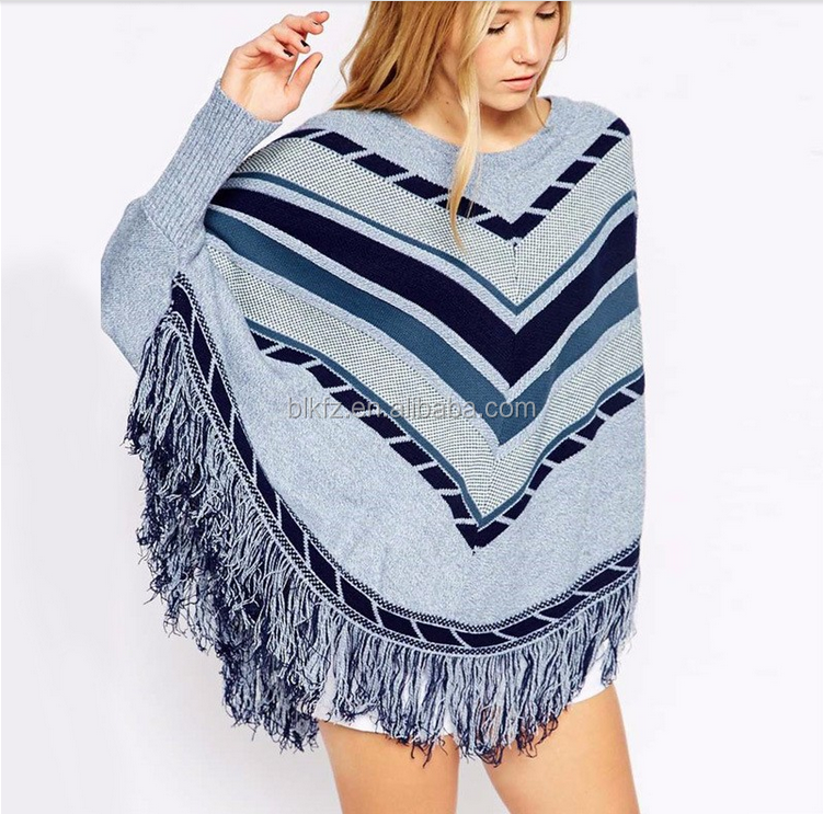 2017 Fashion tassels design fashion pattern ladies/women knitted poncho sweater