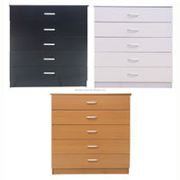 Wide Chest of 5 Drawers Black White Beech Drawer Support Bedroom Furniture 8 Drawer