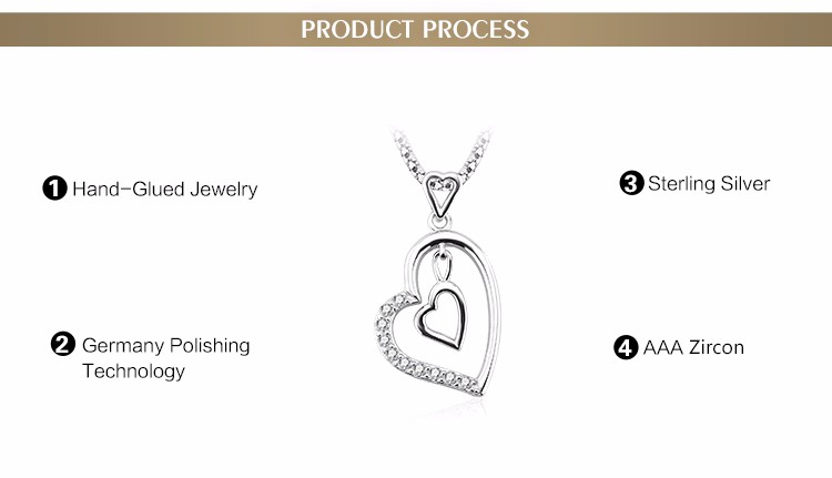 Double lover heart pattern necklace new style silver necklace