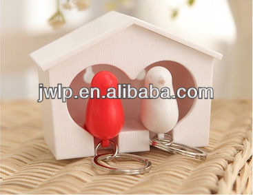 Sparrow Key Ring Birdhouse Gadget Home Wall Hook Holder Keychain